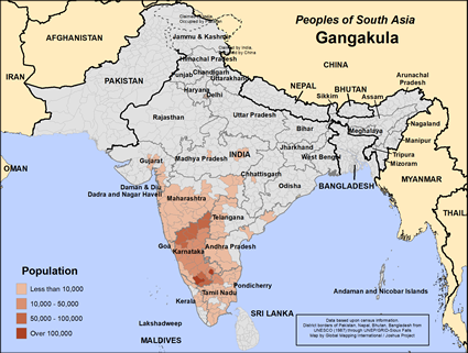 Gangakula in India map