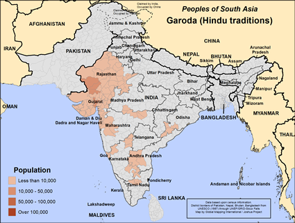 Garoda (Hindu traditions) in India map