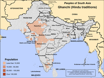 Ghanchi (Hindu traditions) in India map