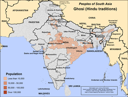 Ghosi (Hindu traditions) in India map
