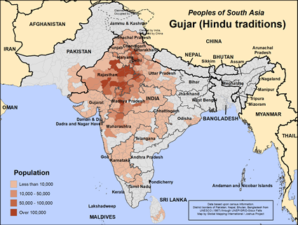 Gujar (Hindu traditions) in United States map