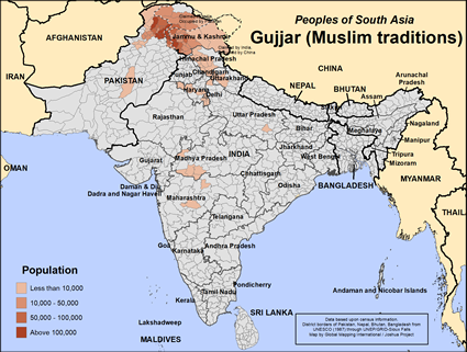 Gujjar (Muslim traditions) in India map