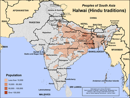Halwai (Hindu traditions) in India map