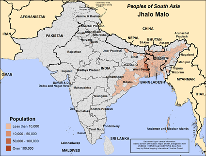 Jhalo Malo in Bangladesh map