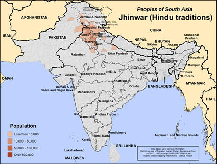 Jhinwar (Hindu traditions) in India map