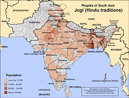 Jogi (Hindu traditions) in India map