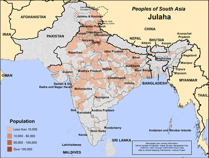 Julaha in India map