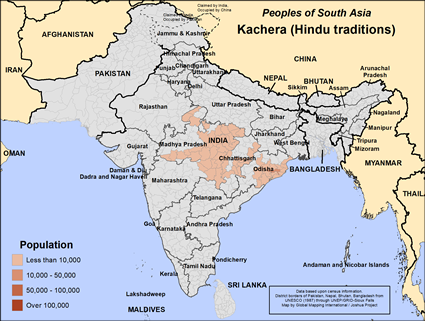 Kachera (Hindu traditions) in India map