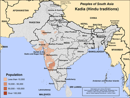 Kadia (Hindu traditions) in India map