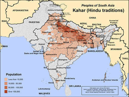 Kahar (Hindu traditions) in India map