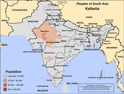 Kalbelia in India map