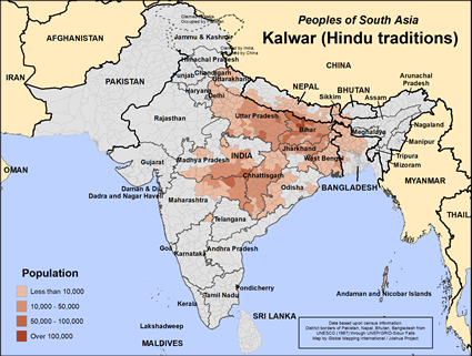 Kalwar (Hindu traditions) in India map