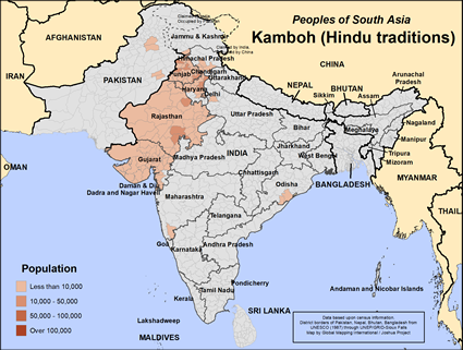 Kamboh (Hindu traditions) in India map
