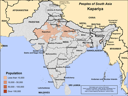 Kapariya in India map