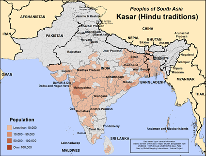 Kasar (Hindu traditions) in India map