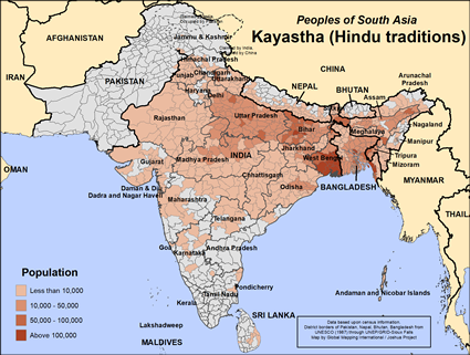 Kayastha (Hindu traditions) in India map