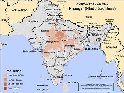 Khangar (Hindu traditions) in India map