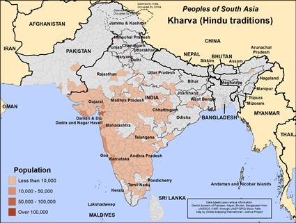 Kharva (Hindu traditions) in India map