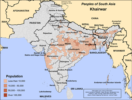 Khairwar in India map