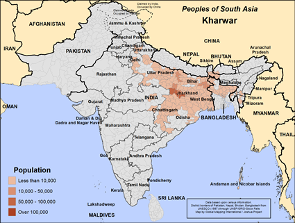 Kharwar in Bangladesh map