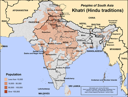 Khatri (Hindu traditions) in Pakistan map