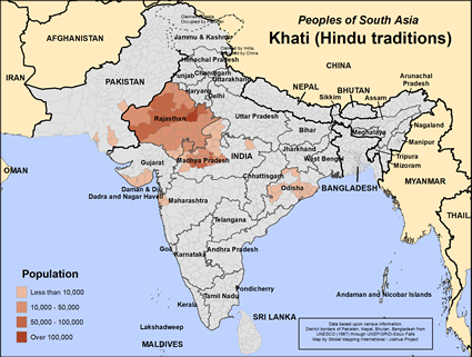 Khati (Hindu traditions) in India map