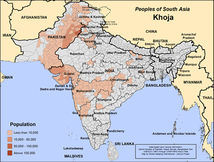 Khoja in India map
