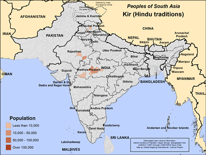Kir (Hindu traditions) in India map