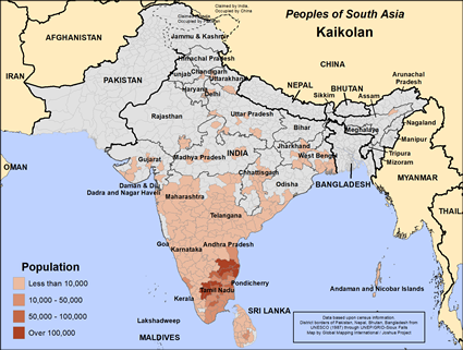 Kaikolan in India map