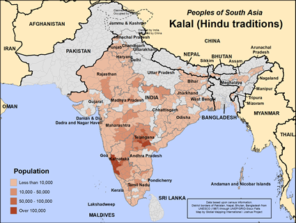 Kalal (Hindu traditions) in India map