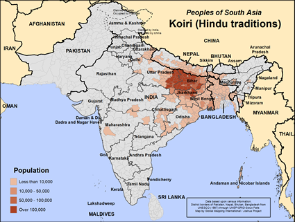Koiri (Hindu traditions) in India map