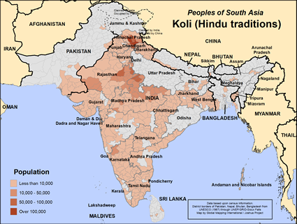 Koli (Hindu traditions) in India map