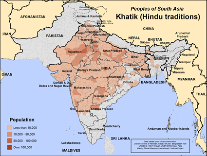 Khatik (Hindu traditions) in India map