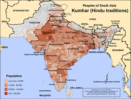 Kumhar (Hindu traditions) in Pakistan map