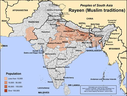 Rayeen (Muslim traditions) in Pakistan map