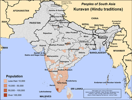 Kuravan (Hindu traditions) in Sri Lanka map