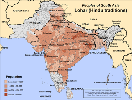 Lohar (Hindu traditions) in India map