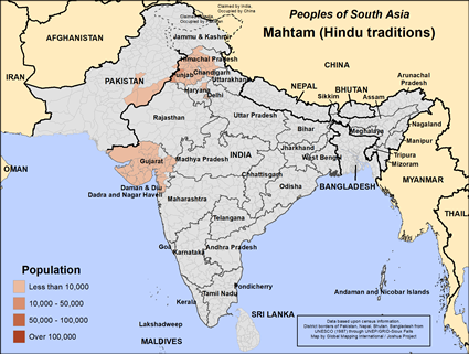 Mahtam (Hindu traditions) in India map