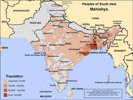 Mahishya in India map