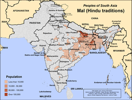 Mal (Hindu traditions) in India map