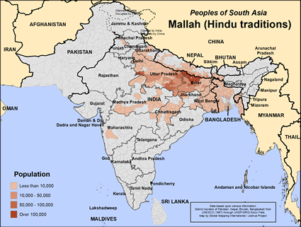 Mallah (Hindu traditions) in India map