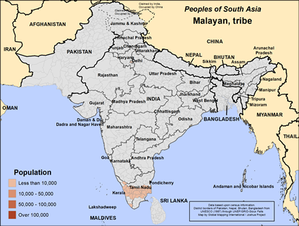 Malayan, tribe in India map