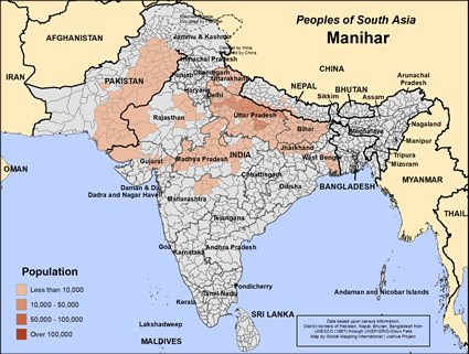 Manihar in India map
