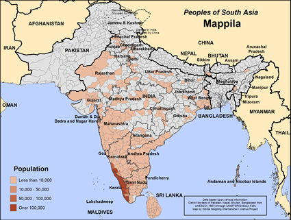 Mappila in India map