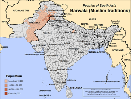 Barwala (Muslim traditions) in India map