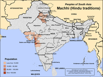 Machhi (Hindu traditions) in India map