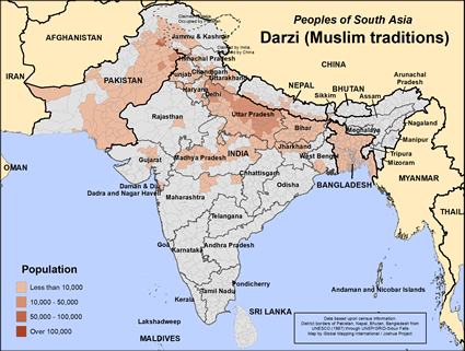 Darzi (Muslim traditions) in Bangladesh map