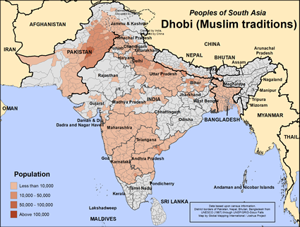 Dhobi (Muslim traditions) in India map