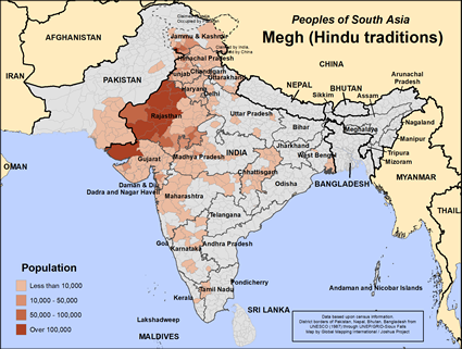 Megh (Hindu traditions) in India map