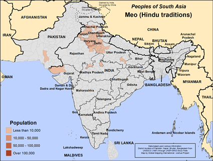 Meo (Hindu traditions) in India map